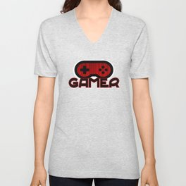 Red Gamer Unisex V-Neck