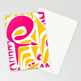 Summer Pop abstract pattern pink and yellow Stationery Cards