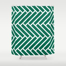 Teal green and white herringbone pattern Shower Curtain