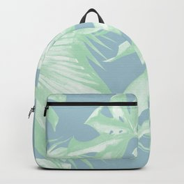 Tropical Leaves Luxe Pastel Sea Turquoise Blue Green Backpack
