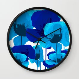 Blue And Turquoise Poppies On A White Background #decor #society6 #buyart Wall Clock