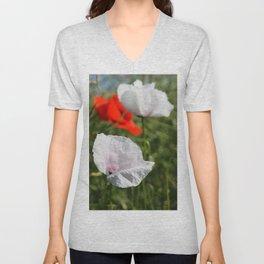 White Poppy Unisex V-Neck