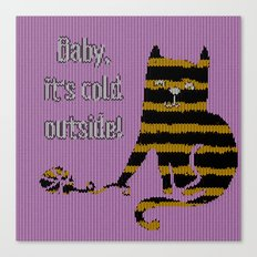 Baby its cold out there knitted Winter Cat Canvas Print