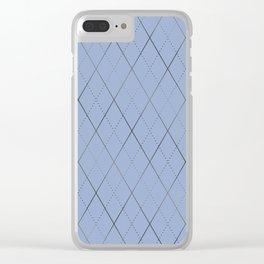 Argyle (Dove Grey) Clear iPhone Case