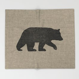Black Bear Silhouette Throw Blanket
