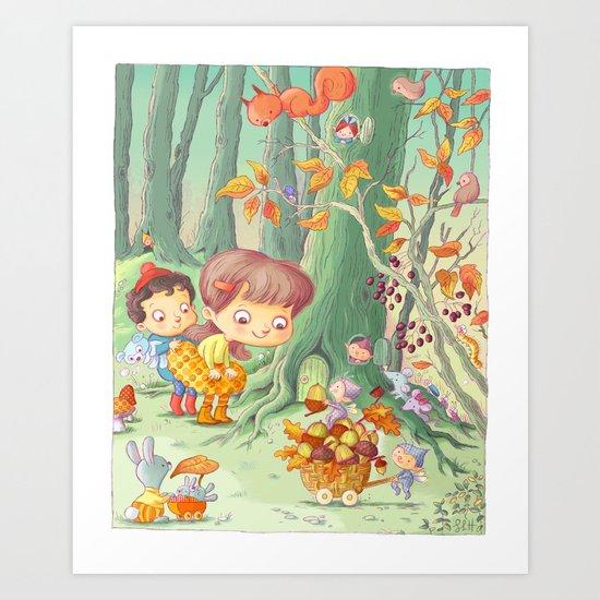 Acorn Gatherers Art Print