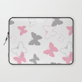 Pink Gray Butterfly Laptop Sleeve