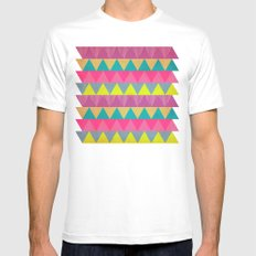 Colored Triangles MEDIUM Mens Fitted Tee White