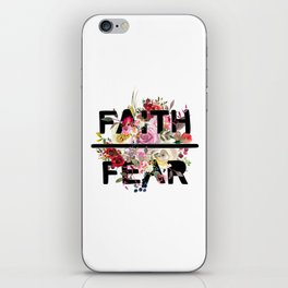 Christian Quote - Faith Over Fear - Cute Floral Watercolor Typography iPhone Skin