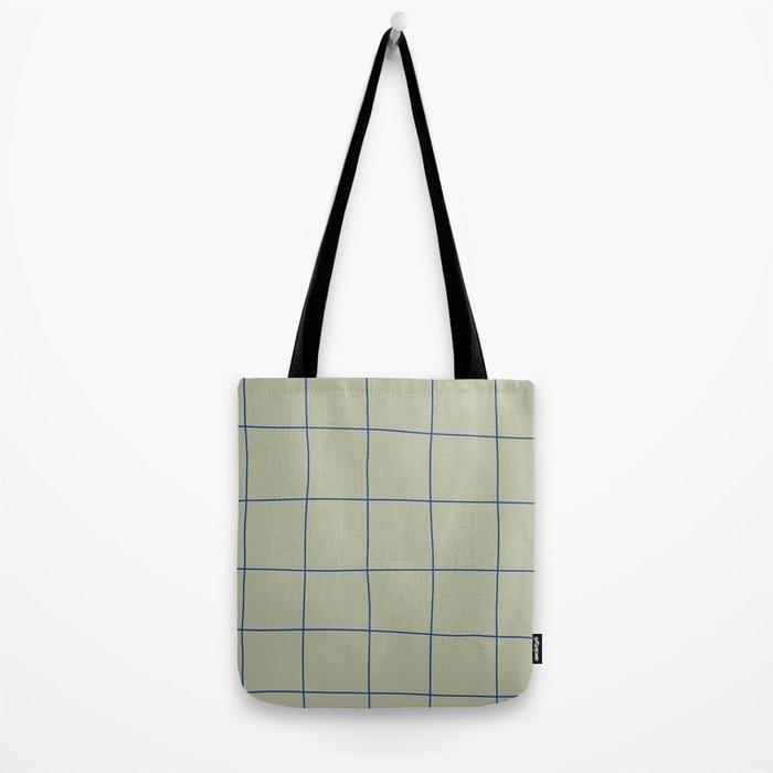 Simple Grid Green Blue Tote Bag