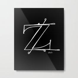 Z- Letter Collection Black Metal Print