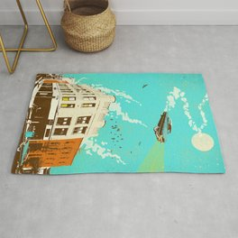 VINTAGE FLYING CAR Rug