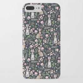 Cute rabbits (dark blue) iPhone Case