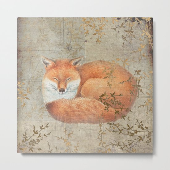 Red fox among thorns Metal Print