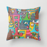 the neighbourhood Throw Pillows featuring Neighbourhood by Raquel Benmergui