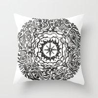 calendar Throw Pillows featuring Aztec Calendar by Jack Soler
