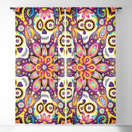 Sugar Skull Mandala - Day of the Dead Mandala Art by Thaneeya McArdle Blackout Curtain