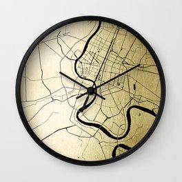 Bangkok Thailand Minimal Street Map - Gold Metallic and Black Wall Clock