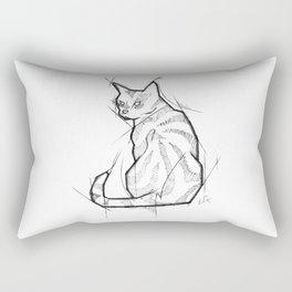 Cat Handmade Drawing, Made in pencil and ink, Tattoo Sketch, Tattoo Flash, Blackwork Rectangular Pillow