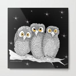 Zentangle Owl Friends at Night Metal Print