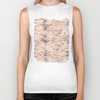 rose gold Biker Tanks featuring Rose Gold Waves by Cat Coquillette