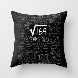 Square Root of 169: 13 Years Old, 13th Birthday Gift T-Shirt Throw Pillow