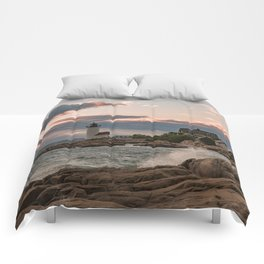 Annisquam Lighthouse sunset Comforters