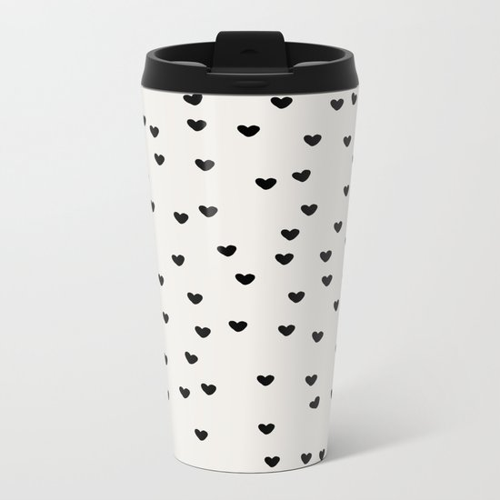 Lots of Little Hearts Brush Strokes Pattern Metal Travel Mug