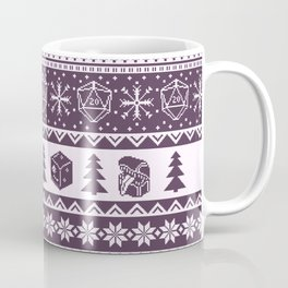 "Roll for Initiative Fair Isle in ""Sugarplum"" Coffee Mug"