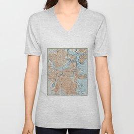 Vintage Map of Boston MA (1906) Unisex V-Neck