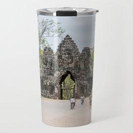 Angkor Thom South Gate with Tourists on Bikes, Cambodia Travel Mug