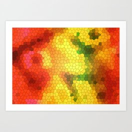 Yellow stained glass Art Print