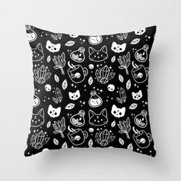 Herb Witch // Black & White Throw Pillow