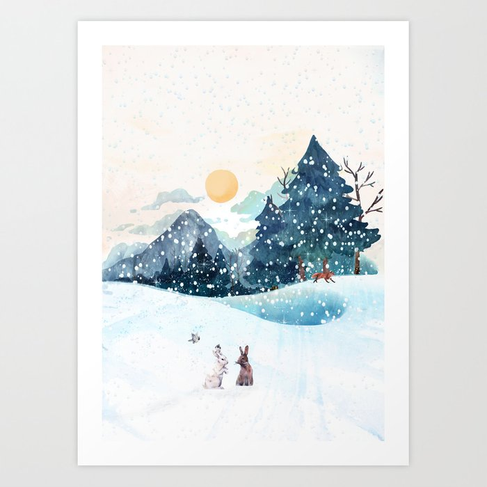 Happy Litlle Wildlife Art Print