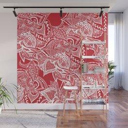 Modern red flame scarlet white hand drawn floral mandala pattern Wall Mural