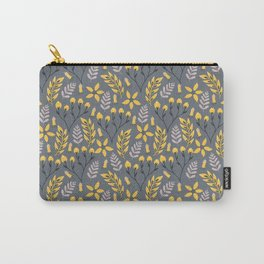 Yellow Floral Gray Carry-All Pouch