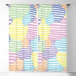Circled Pastel Lines Blackout Curtain