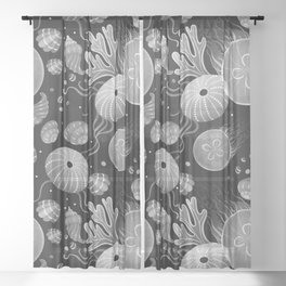 Ocean life - black and white Sheer Curtain