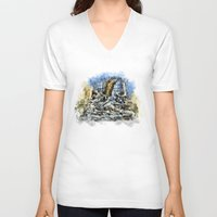 prague V-neck T-shirts featuring Prague Angel by jbjart