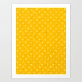Cream Yellow on Amber Orange Snowflakes Art Print