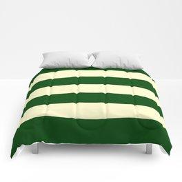 Dark Emerald Green and Cream Large Stripes Comforters