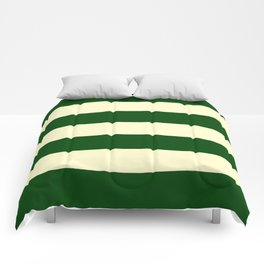 Dark Emerald Green and Cream Large Stripes Comforters