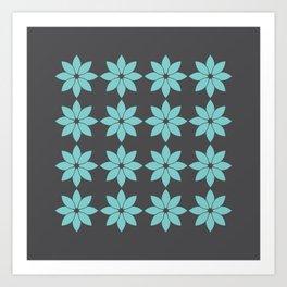 Minimalist Flowers Pattern (Charcoal Black, Aqua Sky) Art Print