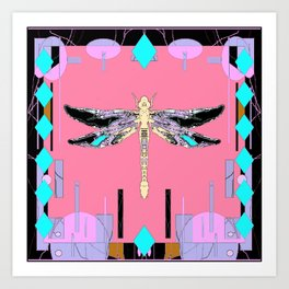 Salmon-Coral colored Western Dragonfly Abstract Art Print