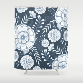 Blue Floral Shower Curtain