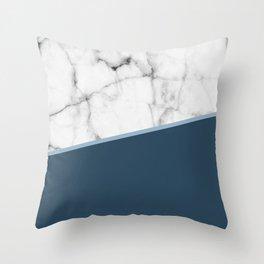 Real White Marble Half Ocean Sapphire Steel Blue Throw Pillow