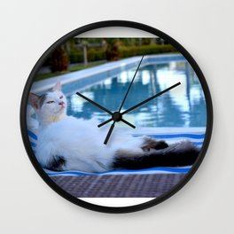 Cat resting on long chair by the pool Wall Clock