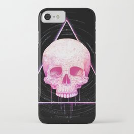 Skull in triangle on black iPhone Case