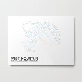 West Mountain, NY - Minimalist Trail Maps Metal Print