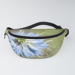 Blue flower close up Nigella love in the mist Fanny Pack